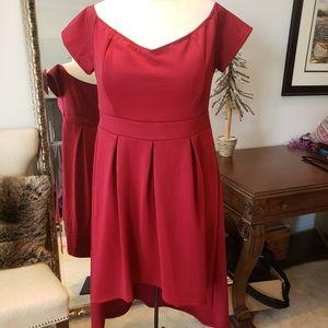 High-Low 3X Formal Flare Dress Burgundy